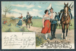 1900 Militaire - Das Rossistcles Königs Der Reiteristmein UHLAN Romance Hannover Kusten Postcard - Patriotic