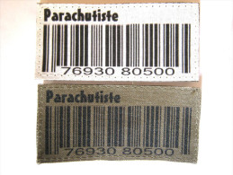 (PRIX SPECIAL) 2 INSIGNES TISSUS PATCH PARACHUTISTE NUMERO DE RECRUTEMENT SUR VELCRO ETAT EXCELLENT