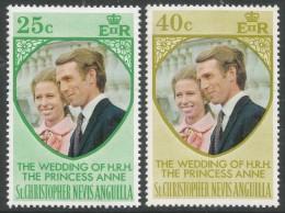 St Kitts-Nevis. 1973 Royal Wedding. MNH Complete Set. SG 290-1 - St.Christopher-Nevis-Anguilla (...-1980)