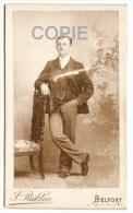 Photo CDV Carte De Visite Homme En Pied Fin XIXe Photographie J. RICKLIN Belfort Photograph Man Standing - Anonyme Personen