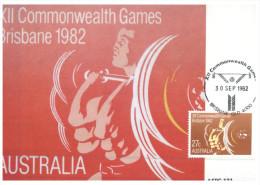 (999) Australia - Maxi-card - Maximum Card - Weight Lifting 1982 Brisbane Commonwealth Games - Halterofilia
