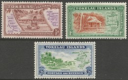 Tokelau Islands. 1948 Villages and Map. MH Complete Set. SG 1-3