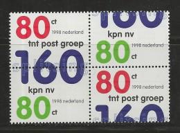NEDERLAND, 1998, MNH Stamps, Splitting Post-telecom,  Nr(s). MI 1663-1664, #5821 Block Of 4 - Period 1980-... (Beatrix)