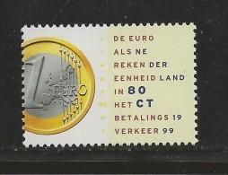 NEDERLAND, 1999, MNH Stamp(s), New EURO Coins,  Nr(s). MI 1704, #5826 - Period 1980-... (Beatrix)