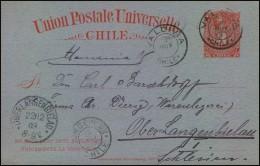 1903: 3 Centavos Stat. Card From VALDIVIA To OBERLANGENBIELAU, Schlesien. - Chile