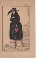 ART NOUVEAU, ILLUSTRATEUR  V. LHUER, MODE 1921 ORIGINAL,MANTEAU De SOIREE,SUPERBE - Non Classés