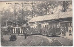 Tervueren. A la gare. Les tramways bruxellois - gros plan - anim�e - 1911 - Edit. Decock, Tervueren
