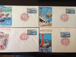 Harbour Port JAPAN JAPON 1967 Belle Collection De 4 FDC Enveloppes Premier Jour - Monuments