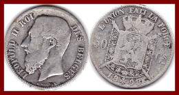 BELGIQUE 50 CENTIMES LEOPOLD II 1898 ARGENT SILVER 835°/°° KM # 26 FRANCAIS TTB - 06. 50 Centimes