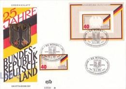 Germany FDC: 1974 25 Years Bundesrepublik Deutschland Minisheet + Stamp   (L58-5) - FDC: Buste