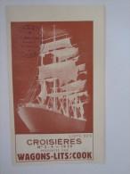 PUBLICITÉ BATEAU PAQUEBOT LISTE CROISIÈRES WAGONS LIT COOK - Boats