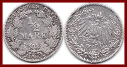 ALLEMAGNE GERMANY Deutsches Reich 1/2 Demi Mark 1905 G Argent Silver 900 °/°° 2,78g KM # 17 - [ 2] 1871-1918: Deutsches Kaiserreich