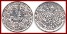 Rare ALLEMAGNE GERMANY Deutsches Reich 1/2 Demi Mark 1911 A Argent Silver 900 °/°° 2,78g KM # 17 SUP - [ 2] 1871-1918 : Empire Allemand