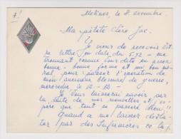 MEKNES 8 DÉCEMBRE 1956 CARTE 19 ème CORPS D´ARMÉE LÉGION ÉTRANGERE - LOGO GAUFRÉ - V° Dessin E. JAUBERTIE - 2 Scans - - Documents