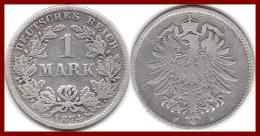 Rare ALLEMAGNE GERMANY Deutsches Reich 1 Mark 1874 F Argent Silver 900 °/°°  5,5 G KM # 7 TB - [ 2] 1871-1918: Deutsches Kaiserreich