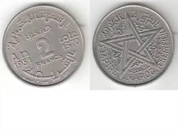 Morocco 2 Francs 1951  Km 47  Unc !!!!!! - Maroc