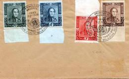 BELGIEN 1949 - 4 Sondermarken (90C+1,75Fr+3Fr+4Fr) Mit Randstücke Auf Brief - 4 Sonderstempel Premier Timbres Brüssel - Belgien