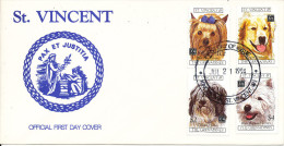 St. Vincent FDC 21-7-1994 Year Of The Dog With 4 Stamps And Cachet - Dogs