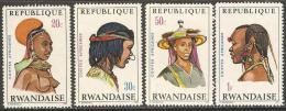 Rwanda - 1970 - Coiffes africaines - YT  408 � 411 neufs sans charni�re - MNH