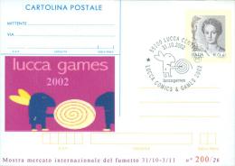 LUCCA  GAMES 2002-CARTOLINA POSTALE SOPRASTAMPA PRIVATA-ANNULLO  LUCCA COMICS & GAMES - Merchandising