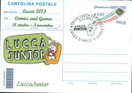 LUCCA  JUNIOR-CARTOLINA POSTALE SOPRASTAMPA PRIVATA-ANNULLO  LUCCA COMICS & GAMES - Merchandising