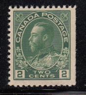 Canada MNH Scott #107 2c George V, Admiral - Straight Edge - Neufs