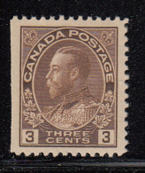 Canada MH Scott #108 3c George V, Admiral - Straight Edge - Neufs