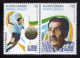 URUGUAY 2014 SE-TENANT 1x2 (Football, Soccer, World Cup, Alcides Ghiggia, Sports, Maracaná Stadium; Fútbol, Deportes) - World Cup