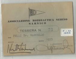 82050 TESSERA ASSOCIAZIONE MOTONAUTICA SEBINO SARNICO FIM 1955 BERGAMO - Sport