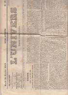 France - Journal L´ Univers Du 22 Février 1853 ° - 4 Pages - Avec Publicité - 1850 - 1899