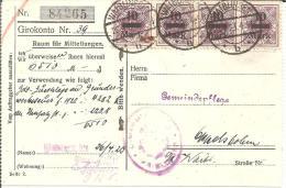 Wtb180/ Brief Mit Dienstmarken, 4-er Streifen Auf Sparkassen-Gutschrift Waiblingen 1923 - Deutschland