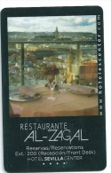 Llave Card Clef Key Keycard HOTEL SEVILLA  CENTER - RESTAURANTE AL ZAGAL - Etiquetas De Hotel