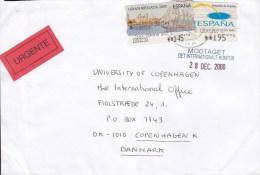 Spain URGENTE Label GIRONA 2000 Cover Letra To Denmark ATM / Frama Label Franking Schiff Ship - Poststempel - Freistempel