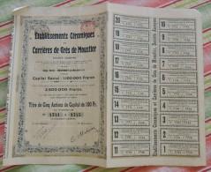 Etablissements Céramiques Et Carrières De Grès De MOUSTIER - Action De 100 Francs - Andere