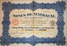 Mines De Matracal (état De Durango – Mexique) 1926 - 5 Parts Bénéficiaires Au Porteur (56781 à 56785) - Mijnen