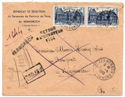 Palais Elysée X2 Sur Lettre Recommandée Provisoire De 1948 - Kermoroch / Côtes Du Nord - Poststempel (Briefe)