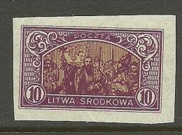 LITAUEN Lietuva Lithuania 1921 Mittellitauen Central Lithuania Michel 40 B MNH - Lituanie