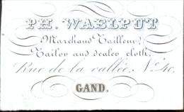 Visitekaart Porseleinkaart Carte Porcelaine Ph. Waelput Marchand Tailleur Gand - Gent - Cartes De Visite