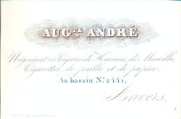 Visitekaart Porseleinkaart Carte Porcelaine Aug. André - Cigares De Havane - Bassin Anvers - Antwerpen - Cartes De Visite