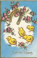 """Jolie Carte Fantaisie Avec Paillettes Poussins Avec Fer à Cheval Et Fleurs De """"Joyeuses Pâques"""" - IDA - Pâques"""