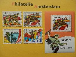 Vietnam 1985, 10 ANN. LIBERATION OF SOUTH VIETNAM: Mi 1554-57, + Bl. 33, ** - Vietnam