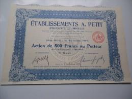 Ets A.PETIT (produits Chimiques) Capital 0,5 Million (1927) - Ohne Zuordnung