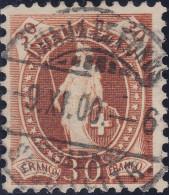 Heimat NE Chaux De Fonds 1900-11-09 Voll-Stempel Auf 30Rp Stehende Helvetia Zu#68D - 1882-1906 Armoiries, Helvetia Debout & UPU