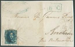 N°4 - Médaillon 20 Centimes Bleu, Margé, Obl. P.24 Sur Devant De Saint-GILLES Via BRUXELLES Le 4 Juin 1851 + Griffe Enca - 1849-1850 Médaillons (3/5)