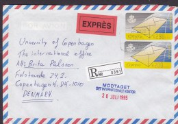 Spain Airmail EXPRÉS Label Registered Recommandé Certificado MARBELLA Malaga 1995 Cover Letra Denmark ATM / Frama Label - Luftpost