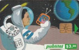 El Salvador, ELS-PUB-049B, Telecomunicador Espacial, Space, 2 Scans.  Chip : LG - El Salvador