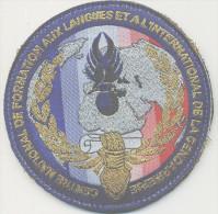 RARE INSIGNE TISSUS PATCH  GENDARMERIE NATIONALE CENTRE FORMATION AUX LANGUES INTERNATIONALES SUR VELCRO ETAT EXCELLENT