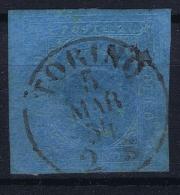 Italy  Sardegna 1851 Sa 4, Mi. 4  Used,  Some Paper On Back - Sardaigne
