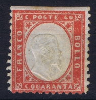 Italy  1862  Sa  3 , Mi 11 MH/*   Imperforated At Top - 1861-78 Vittorio Emanuele II