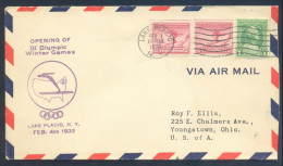 USA III Olympic Winter Games Lake Placid 1932 Air Mail Cover; Special Hand Stamp Opening Day Of The Games 4 Feb RARE RR - Winter 1932: Lake Placid